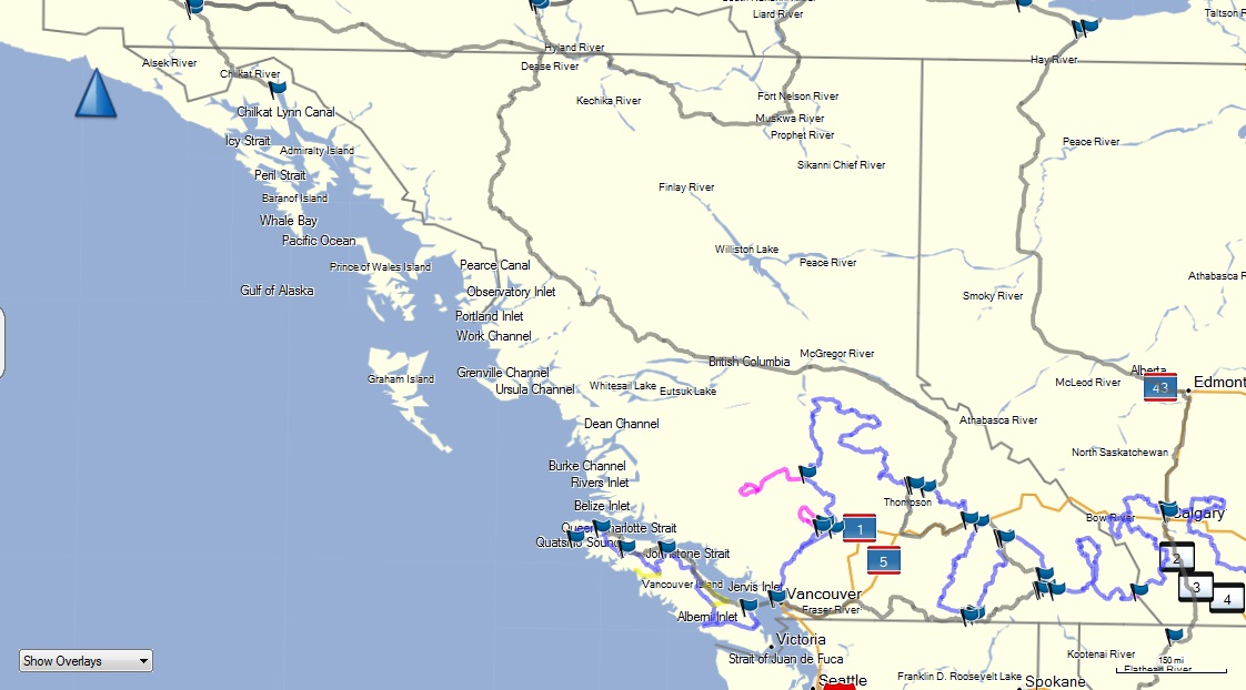 Trans USA and Canada Overview – Map of Western Canada and Usa